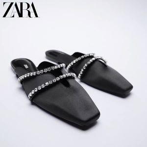 Zara Chain Rhinestone Flat Mules SIZE 37